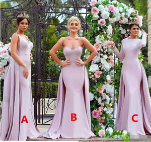 Stylish Appliqued Pink Long Bridesmaid Dresses 2017 Strapless Soft Satin Long Sleeve Wedding Guest Dress Maid Of The Honour Gowns