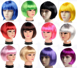 Fashionable BOB style Short Party Wigs Candy colors Halloween Christmas Short Straight Cosplay Wigs Party Fancy Dress Wigs DHL