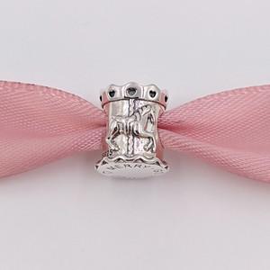 Otantik 925 Ayar Gümüş Boncuk Gümüş 14 K Altın Carousel Boncuk Charms Avrupa Pandora Tarzı Takı Bilezikler Kolye Uyar 791236