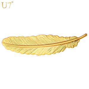 Único New Vintage Pena Broches Para As Mulheres Por Atacado 18 K Real Ouro / Platinadas 4 Cores Folha Clipe Broches Homens Jóias B104