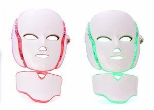 7 Color LED Máscara facial para el cuello con EMS Microelectrónica Máscara de fotón LED Arrugas Eliminación del acné Rejuvenecimiento de la piel Cara Belleza Spa