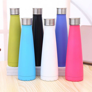 Hot 500ml Cola Shaped Bottle Insulated Double Wall Vacuum high-luminance Water Bottle Outdoor Sports Bicycle Travel Cup DHL Free