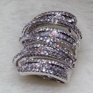 Plein princesse coupé bijoux de luxe 925 Sterling Siver 925 Sterling Silver Saphir Blanc Simulé Diamant Pierres Précieuses De Mariage Femmes Anneau Sz5-11