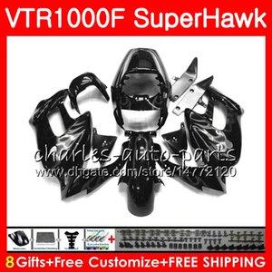 Cuerpo para HONDA SuperHawk VTR1000F 1997 1998 1999 Plata llamas 2000 2002 2004 2004 2005 91NO82 VTR 1000F 97 98 99 00 01 02 03 04 05 Carenado