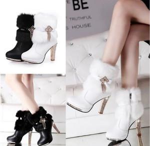 Botas de nieve de piel de conejo dulce de invierno con base grande, botas de nieve de alto costo con botas cortas blancas femeninas