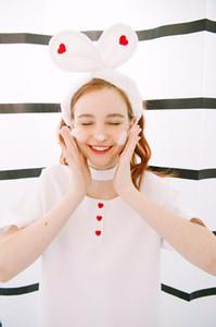 Macio Retro Faixa de Cabelo Cor Múltipla Máscara Facial Faixa de Cabelo Bonito Orelha de Coelho Faixas de Bebê Menina Mulheres Faixas de Cabelo Lavar o Rosto 77