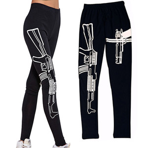 도매 - Bluelans 블랙 탄력있는 면직물 다리 보호구 기관총 인쇄 레깅스 바지