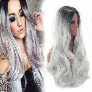 ZF Grey Wig Ombre Grey Bob Parrucca sintetica da donna 65cm Curly Wigs Black Women Deep Wave