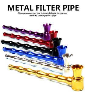 4.9inch Bambusgelenk Aluminium-Zigaretten-Metall-Bauchrohr Tabak Hand Zigarrenhalter Filterrohre 6 Farben Werkzeuge Zubehör 2 Arten