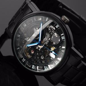 2019 جديد أسود الرجال الهيكل العظمي ساعة اليد الفولاذ المقاوم للصدأ العتيقة steampunk عارضة التلقائية الهيكل العظمي الساعات الميكانيكية ذكر + مشاهدة مربع