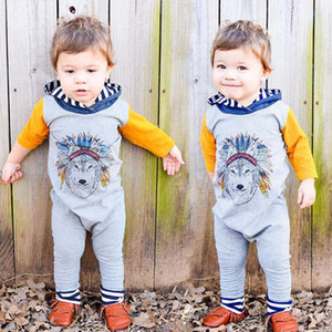 Conjuntos de Roupas de bebê Moda Primavera Outono Bebê Recém-nascido Das Meninas Dos Meninos Lobo Indiano Macacão Com Capuz Romper Macacão Outfits Roupas Infantis Crianças Roupas