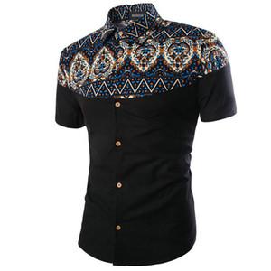 All'ingrosso-Vetement Homme vendita diretta cotone Camisas Hombre Vestir 2016 Hot Mens Camicie manica corta Estate moda stampa uomo Camicia