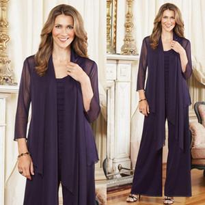 2019 Yeni Artı Boyutu anne Gelin Pant Ceket ile Suits Mor kıyafetler Custom Made Şifon Uzun Kollu anne damat 126