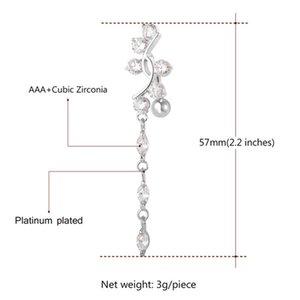 Con anillo de platino plateado real para mujeres cúbicas Botón de zirconia Belly 18K Cuerpo claro Dorado ATRFD