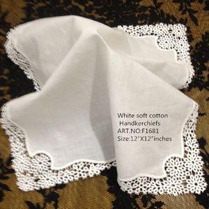 Набор из 12 Home Textiles Белые дамы 12 дюймов платком Вышитые крючком кружева края платочки носового платка Для новобрачных Подарки