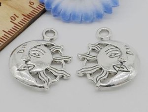 Free Ship 50Pcs Antique Silver Sun et Moon Charms Pendant pour la fabrication de bijoux 27x20mm