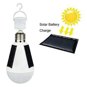 Edison2011 7W 12W E27 Suspendus Énergie solaire Rechargeable Urgence LED Ampoule Lumière du Jour IP65 Panneaux Solaires Étanches Alimenté Veilleuse de Nuit
