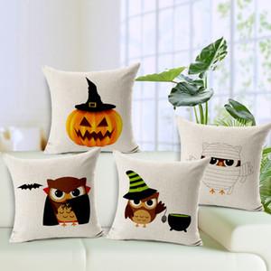 45 * 45 cm del amortiguador de la cubierta de la calabaza del partido del búho de Halloween del palo de la funda de almohada para Halloween Decoración