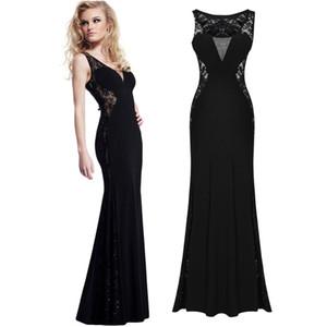 Femmes Black Dresse Nouvelle Arrivée Slim Sexy Patchwork Dress See-through Look Longue Robe En Dentelle Sans Manches Soirée Robes De Sirène