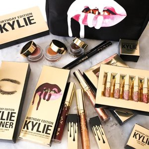 2016 Hot Kylie Jenner Cosméticos Kylie cumpleaños Barra de labios mate Goss Mini Kit Leo Lip cumpleaños Edición limitada de Oro