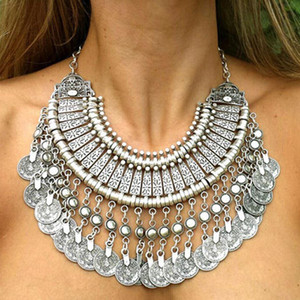 Wholesale-2016 Vintage jewelry Boho Coin Pendant choker cal Turkish Statement Necklace steampunk from Indian Accessories for woman