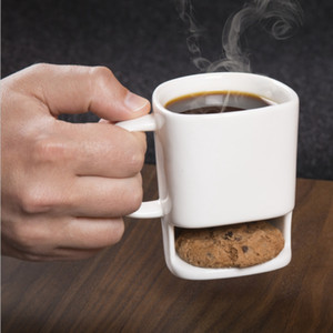 Cookies Milk Coffee Mug Ceramic Cup Dunk Mug With Biscuit Pocket Holder Office Coffee Mugs OOA3093