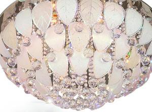 Yuvarlak Kristal Işık Tavan yaratıcı yatak odası. Tavan yaprakları lamba bırakır. Paslanmaz Çelik Tavan Çiçek yaprakları Modelleme ışıkları