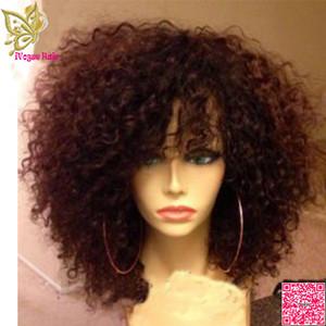 Короткие афро странный вьющийся парик бразильский парик фронта шнурка волос вьющиеся бесклеевые человеческие волосы полный парик шнурка с челкой волосы ребенка
