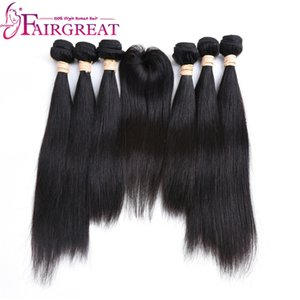 Fairgreat Pre-colored Remy Straight Hair 6 Bundles With Closure Human Hair Bundles With Lace Closure Virgin Brazilian human hair Extensions