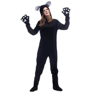 Yetişkin Kadın Pijama Hayvan Black Dog Ayı Giyim Unisex Kedi Onesies Suit PS014 için Cadılar Bayramı Siyah Kedi Cosplay Kostümler
