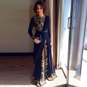 Горячие продажи Дубай кафтан с длинным рукавом мусульманские вечерние платья 2016 Vestidos шифон с золотым кружевом халат де вечер Пром платье