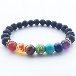 Hot Natural Black Lava Stone Braccialetti energy 7 Reiki Chakra Healing Balance 8mm perline colorate Braccialetto per uomo Donna Stretch Yoga Jewelry