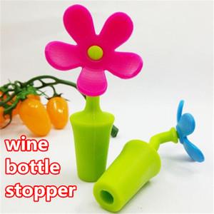 Nueva botella de vino único en forma de flor de la botella de vino de silicona tapa de la botella Wine Stopper Plug Savers tapas de la botella accesorios del partido wed447