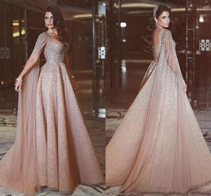 2017 elegante Beading Longos Vestidos de Noite Com Mangas de Cape Straps A-line longo Rosa Tulle Partido Evening Vestidos Frisados Vestidos Festa