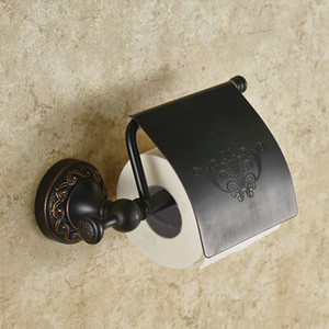 Spedizione gratuita all'ingrosso e al dettaglioPorta carta europea in rame nero di alta qualità in bronzo nero Il portasciugamani da bagno
