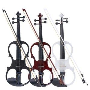 4/4 양방향 전기 바이올린 바이올린 현악기 악기 basswood 피팅 음악 애호가를위한 케이블 헤드폰 사례 초보자