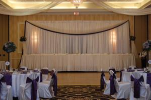 DHL Hochzeit Vorhang Kulissen Hochzeit Bühnen Dekorationen Hintergrund Hochzeit Requisiten Satin Drapieren Wandverkleidung CHIFFON WHITE WEDDING BACKDROP