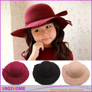 Mode Bowknot Princesse Chapeaux Brimmed Sun Hat Wool Cap Seau Chapeau Bébé Sunbonnet Enfants Top Hat Filles Topee Fedora Chapeau Enfants Casquettes Chapeau