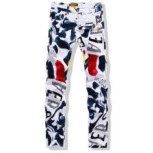 Gros-Grande Taille 28-44 Blanc Imprimé Hommes Jeans Mode Mâle Unique Coton Jeans Pour Homme Hommes Casual Debris Impression Pantalon Hombre YN156