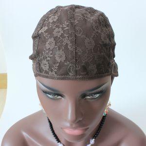 3 stücke jüdische wig kappe braune farbe s / m / l Glueless Perücke Kappen zur Herstellung von Perücken Stretch Spitze Webereikappen einstellbare Riemen mittelbraun