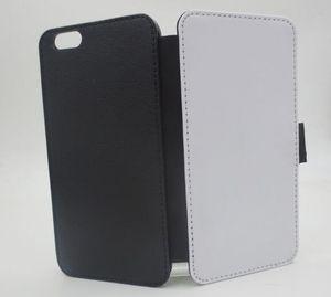 2D Yüceltme boş Deri kapak kılıfları cilt Mıknatıs ve kart yuvası Ile iphone 7 Için artı 6 artı 100 adet