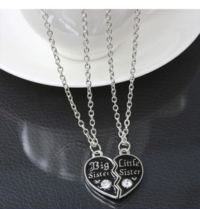 Collier pour femmes 2016 style doux cœur brisé mignon famille bijoux BFF grande soeur moyenne soeur petite soeur meilleure soeur Pendentif Necklac