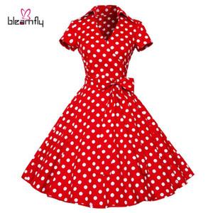 여성 복장 2017 여름 복고풍 헵번 Vestidos Vintage 50s 60s Dress Polka Dot 웨딩 파티 빨간색 더하기 크기 Rockabilly Clothing