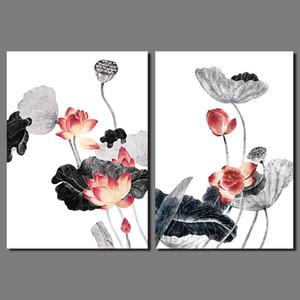 Chinesischen stil tinte schwarz und weiß dusche rot lotus dekoration wandkunst bild blatt leinwand gemälde für wohnzimmer