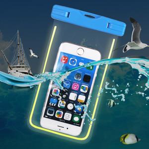 Impermeabile universale di caso di nuoto del sacchetto per l'iphone 7 più Glow immersioni subacquee della cassa del sacchetto per il telefono mobile della galassia di telefono Nota 5 S8 S7 Bordo