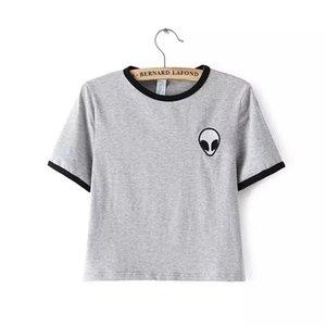 2016 Nova Moda 3d Imprimir Aliens top colheita Camisa de Manga Curta T Mulheres camisetas Adolescentes Camisetas mulheres Tops