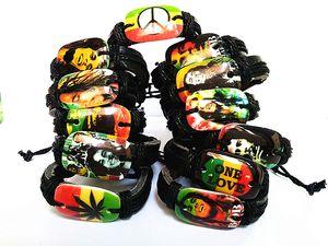 Bob Marley Jamaica Reggae Rasta мода черный кожаные браслеты Мужские женские оптовые много