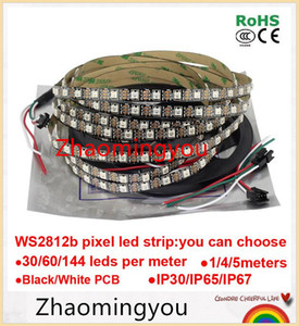 DC5V 1m 4m 5m ws2812b Smart led pixel strip,Black White PCB,30 60 144 leds m WS2812 IC;WS2812B M 30 60 144 pixels,IP30 IP65 IP67