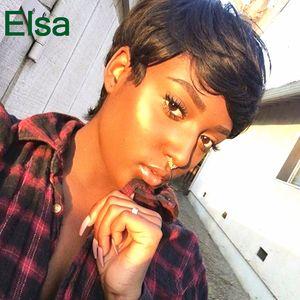 Corto Pixie Cut Human Natural Black Hair Glueless peluca llena para las mujeres negras Human Black Hair Short Cut pelucas