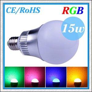 1 PZ / LOTTO CREE 9 W 15 W E27 (B22 / GU10 / E14) RGB Led Lampadina AC85-265V CE / RoHS 16 colori che cambiano con telecomando, spedizione gratuita
